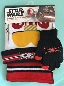 NEW! Youth Boy's Kids Winter Hat Glove Scarf Set Star Wars One Size Fits Most