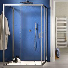 Box doccia 3 lati 90x90x90 cristallo trasparente apertura scorrevole reversibile