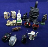 Cast Iron Salt Pepper Shakers, Figures, Train, wood stove. 3.5 Lbs. Vintage LOT