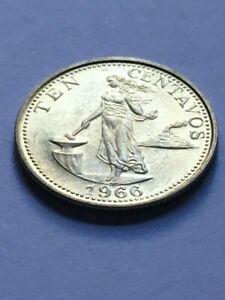 PHILIPPINES 1966 Ten Centavos Coin KM 188 AU+