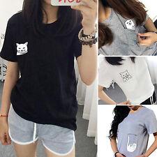 Plus Size Summer Women Pocket Cartoon Cat Top T-shirt Short Sleeve Casual Blouse