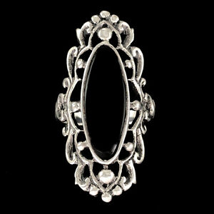 LARGE & ORNATE Solid 925 Sterling & Black Onyx Gothic Style Statement Ring