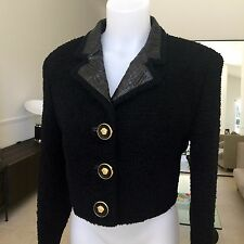 GIANNI VERSACE COUTURE cropped black wool boucle jacket Italian size 44