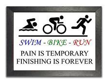Pain Is Temporary Triathlon Motivation Quote Sport Training Poster Swim Bike Run