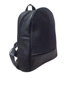 Zaino donna nero zainetto da ragazza con borchie simil pelle borsa borsetta