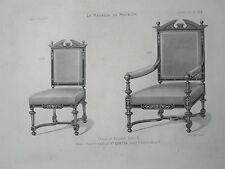 Chaise Fauteuil HENRI II GRAVURE le MAGASIN de MEUBLES Victor QUETIN XIXéme