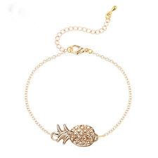 Cute Pineapple Shape Gold Silver Tone Pendant Chain Bracelet Women Girls Fashion