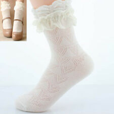 1 Pair New Trendy White Ankle Socks Short Socks with Lace Ruffled Frilly Top