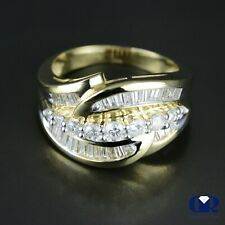 & Cocktail Ring In 14K Yellow Gold Natural 1.27 Ct Diamond Right Hand Ring