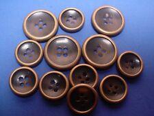 NEW Bronze Rimmed Horn Replacement Blazer Buttons USA 12 Piece Set MAKE OFFER