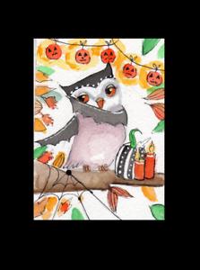 ACEO OWL Scary Bat Halloween Autmn Original  Whimsical  Watercolor art
