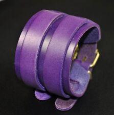 Classic Vintage Men's Double Layers Wide Leather Bracelet Wristband Cuff Purple