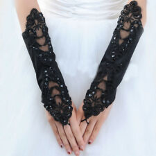 Black Lace Long Gloves Stretch Fingerless Embroidered Evening Wedding Gloves