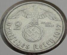 Germany 2 REICHSMARK SILVER MARK HINDENBURG SWASTIKA 1937 A Third Reich