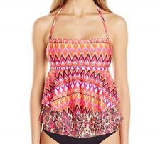 Kenneth Cole Reaction Bandeau Tankini Top Swimsuit, Pink Glo, Small S
