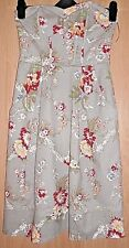 H&M Taupe & Floral Print Fitted Bandeau Strapless Stretch Cotton Dress size 36
