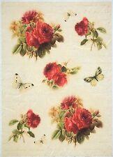 Papel De Arroz-Vintage Rosas Rojas-Para Decoupage Decopatch Scrapbook Craft Hoja