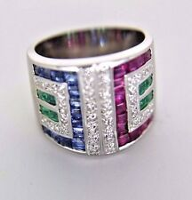 #514 LADIES 18K WHITE GOLD RING WITH DIAMONDS RUBYS SAPPHIRES AND EMERALDS