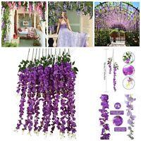 Fake Artificial Silk Wisteria Vine Rattan Garland Home Garden Hanging Flower 6pc