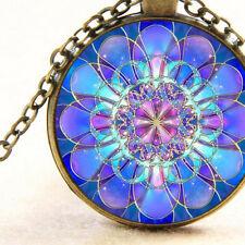 New Blue Mandala, Sacred Geometry Pendant Necklace Spiritual Circle Awareness