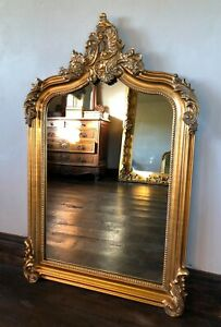 Antique Gold French Ornate Statement Over Mantle Scroll Table Top Arch  Mirror