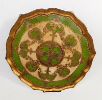 Vintage Italian FLORENTINE Large Wooden Tole Tray Gilt Ornate Gold Green Signed