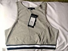 Ladies Crop Top Size 10 Sleeveless Vest New With Tags Grey New Look BNWT Gym