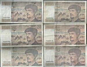 lot  de 12  billets  de  20  francs  debussy