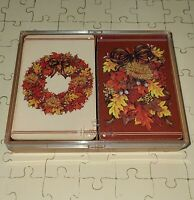 "Vintage Hallmark ""Autumn Elegance"" Bridge Double Deck Playing Cards In Box (c1)*"