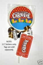 12 Carnival Circus Birthday Party Favor 2.5 inch  Personalized Lollipop Stickers