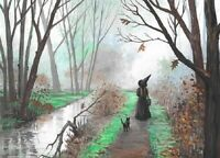 5X7 PRINT OF PAINTING RYTA HALLOWEEN BLACK CAT WITCH HAUNTED CREEK LANDSCAPE ART