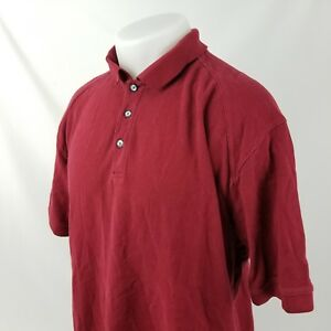 Nike Golf Mens Polo Shirt Solid Red Size XL S/S 3 Button 100% Cotton A01-07