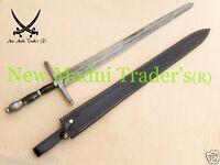 "40"" DAMASCUS BLACK BULL HORN HANDLE MEDIEVAL KNIGHT ARMING ( RANGER) SWORD"