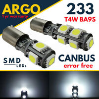 233 LED SMD T4W BA9S XENON BAYONET CAR SIDE LIGHT WHITE BULBS ERROR FREE CANBUS