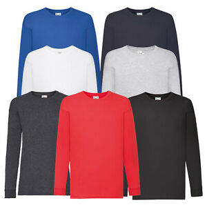 Childs Plain Long Sleeve T-Shirt Cotton Kids Boys Girls Tee Fruit of the Loom