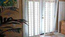"NEW INTERIOR​ SOLID WOOD PLANTATION SHUTTERS 4.5"" LOUVERS WHITE EA.24""W/72.25""L"