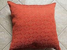 "Orange Geometric Circles and Tan Thick Goose Down Filled Throw Pillow 16"" x 16"""