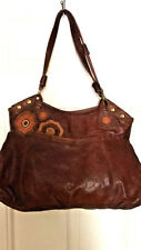 Lucky Brand Mahogany Brown Floral Leather Appliqué Art Bag