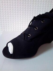 womens new black wedge heel lace up ankle peep toe shoe boot uk size 5