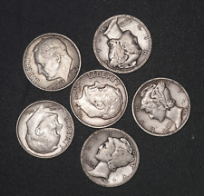 Silver Dime Mercury / Roosevelt Lot 7 Coins United States of America # 140 / 195