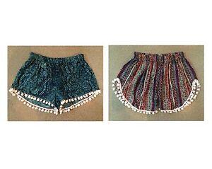 Shorts kurze Hose Bommel Hippie Boho Ibiza Hotpants PomPom Strand Shorts