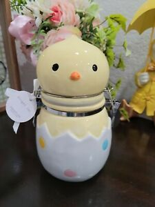 """Easter Baby Chick Egg  Hinged Jar Cookie Coffee Treat Canister 7"""" NWT"""