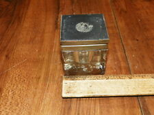 Vintage Crystal Glass Inkwell Square Shape w Brass Flip Lid