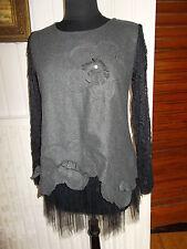 Robe courte tunique gris epais bas tulle noir manche dentelle JINYANZI 38/40
