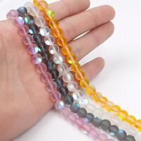 """Mix 8MM Mystic Aura Quartz Gemstone Titanium Aqua Coin Loose Beads 15"""" Strand"""