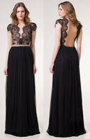 Sexy Women Backless Deep V-neck Halter Maxi Long Dress Party Formal Cocktail