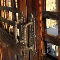 2 x Cabin Hooks Large 200mm Black Cast Iron Ornate Gate Shed Garage Patio Door