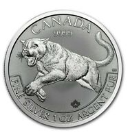 2016 Canadian $5 Cougar Fine Silver Coin .9999 Shadow Colour due to camera lens.