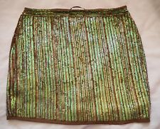 BOOHOO NIGHT Mocha Brown Green SKIRT Size UK 8 BNWOT NEW Sequins Gold Cocktail
