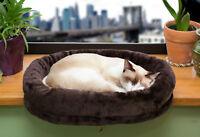 Tiger Tough™  Cat Window Perch Chocolate Plush Cat Bed
